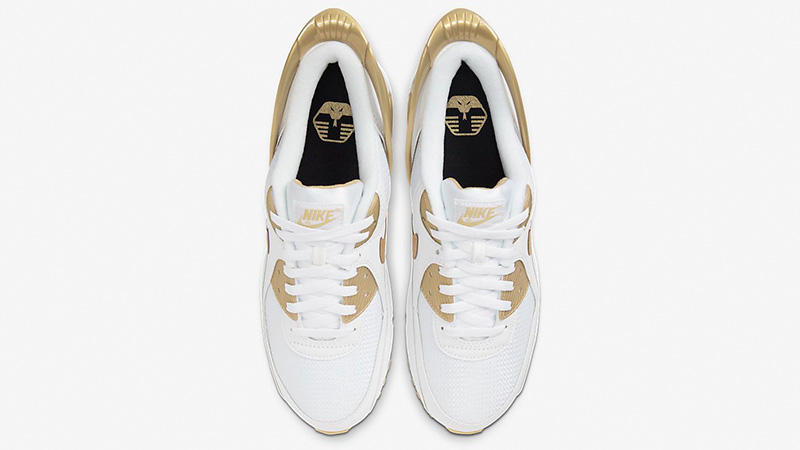 Nike Air Max 90 FlyEase White Metallic Gold CU0814-100 middle