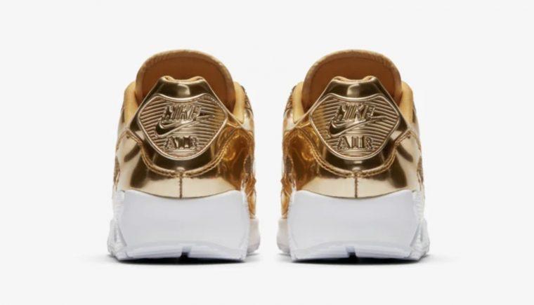 Nike Air Max 90 Liquid Metal Metallic Gold | CQ6639-700 heel thumbnail image