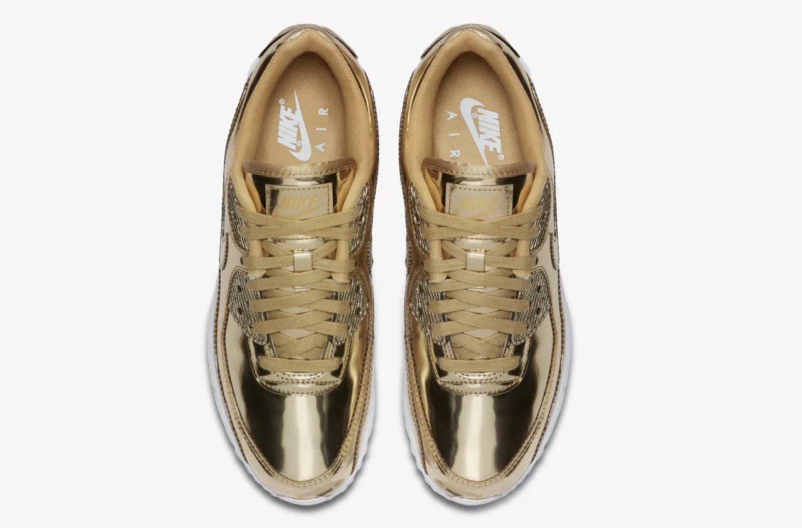 Nike Air Max 90 Liquid Metal Metallic Gold | CQ6639-700 laces