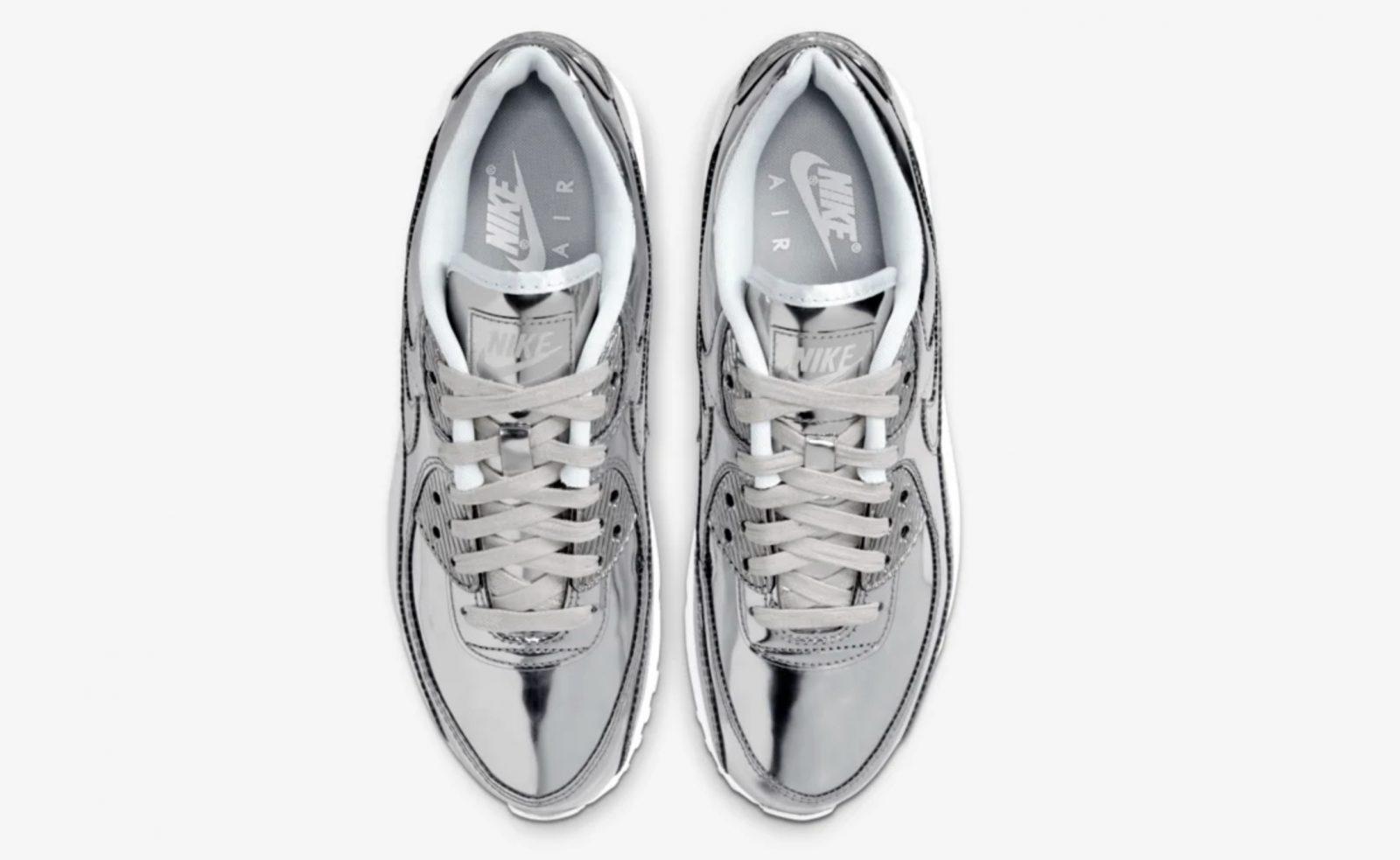Nike Air Max 90 Liquid Metal Silver Chrome laces