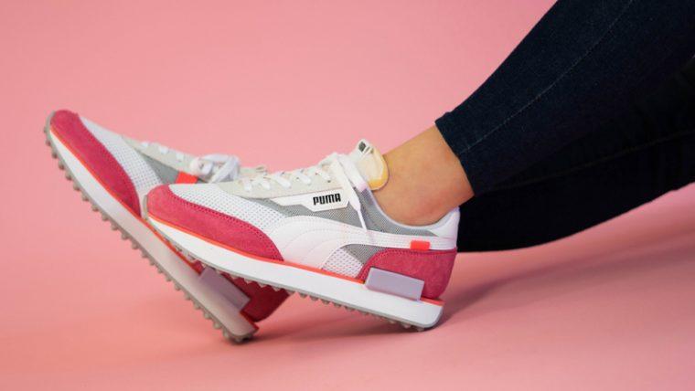 Puma Future Rider Stream On White Pink On Foot 1 thumbnail image