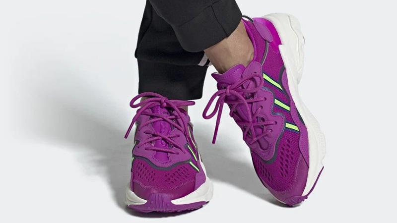 adidas Ozweego Vivid Pink EH1197 on foot