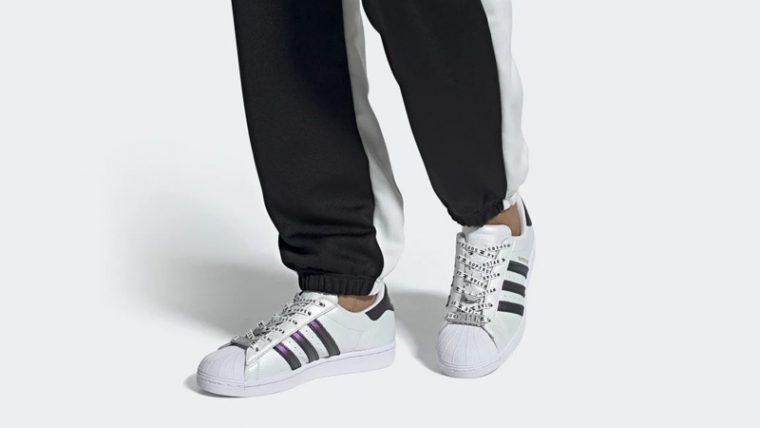 adidas Superstar Cloud White Gold Metallic On Foot thumbnail image