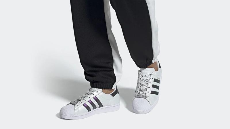 adidas Superstar Cloud White Gold Metallic On Foot