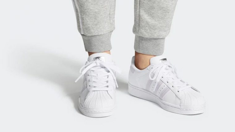 adidas Superstar White Purple FV3374 on foot thumbnail image