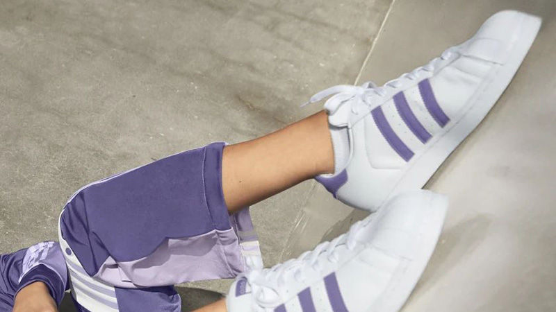 adidas Superstar White Tech Purple FV3373 on foot