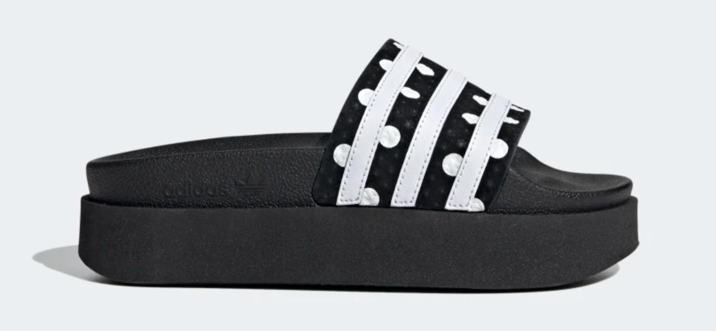 Adilette Bold Slides black polka dot