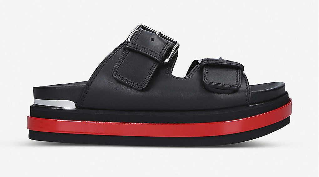 Alexander McQueen Trompe L'oeil Leather Sandals Black