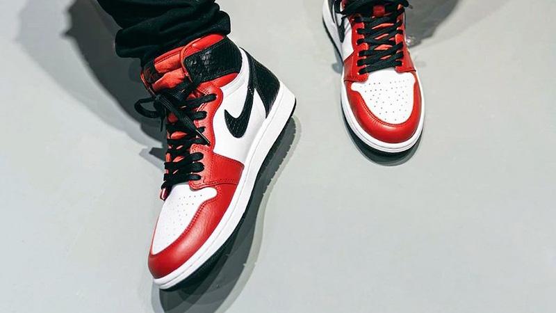 Jordan 1 High OG Satin Snake On Foot Front