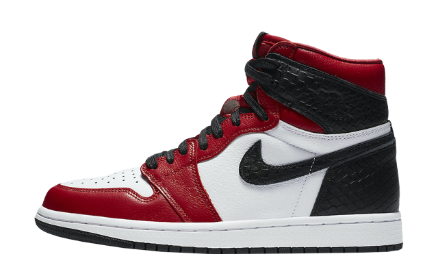 Jordan 1 High Satin Snake Gym Red White
