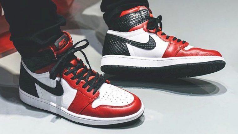 Jordan 1 High Satin Snake Gym Red White On Foot thumbnail image
