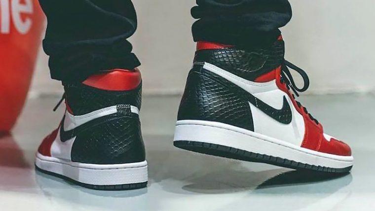 Jordan 1 High Satin Snake Gym Red White On Foot Back thumbnail image