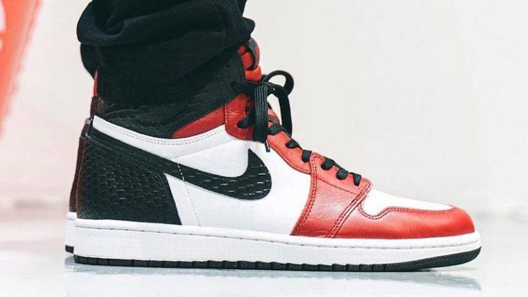 Jordan 1 High Satin Snake Gym Red White On Foot Side thumbnail image