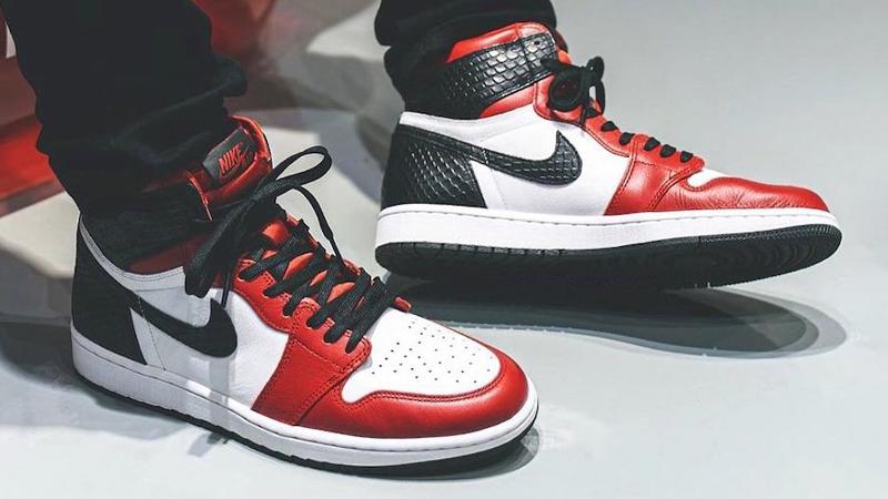 Jordan 1 High Satin Snake Gym Red White On Foot