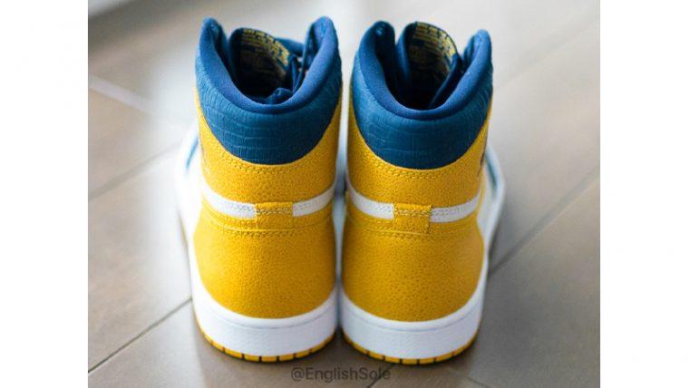 Jordan 1 Michigan PE Blue Yellow Lifestyle Back thumbnail image