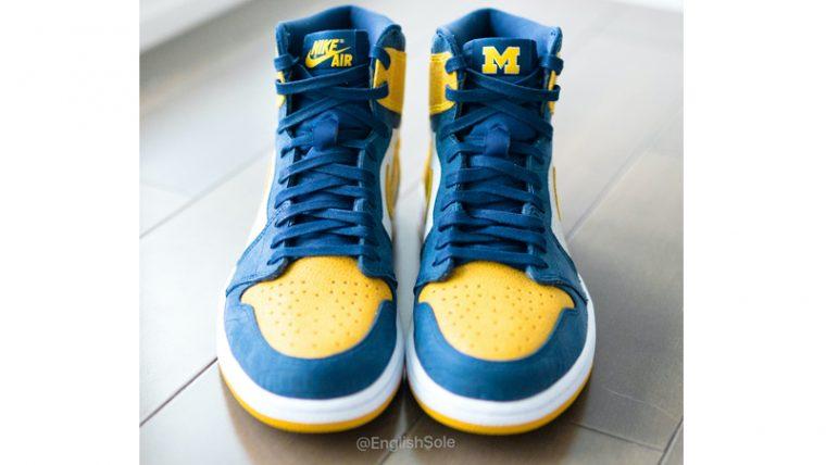 Jordan 1 Michigan PE Blue Yellow Lifestyle Front thumbnail image