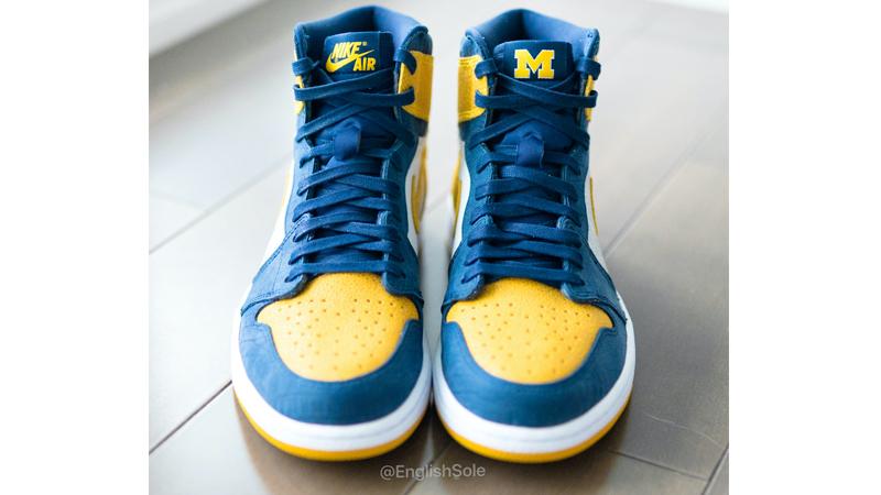 Jordan 1 Michigan PE Blue Yellow Lifestyle Front