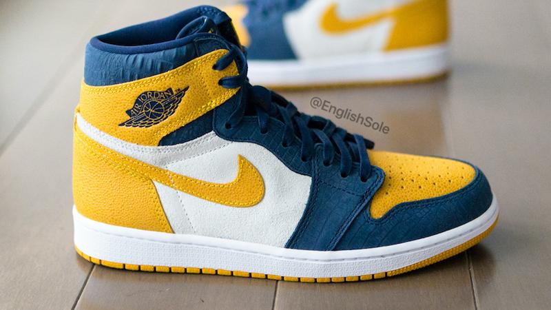 Jordan 1 Michigan PE Blue Yellow Lifestyle Side