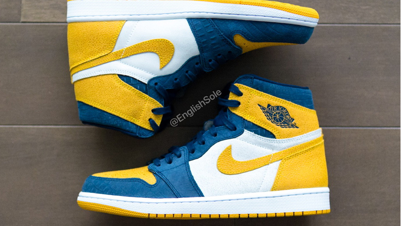 Jordan 1 Michigan PE Blue Yellow Lifestyle Top Side