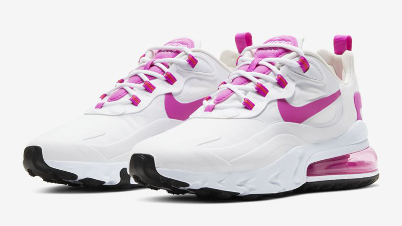 Nike Air Max 270 React White Fire Pink Front