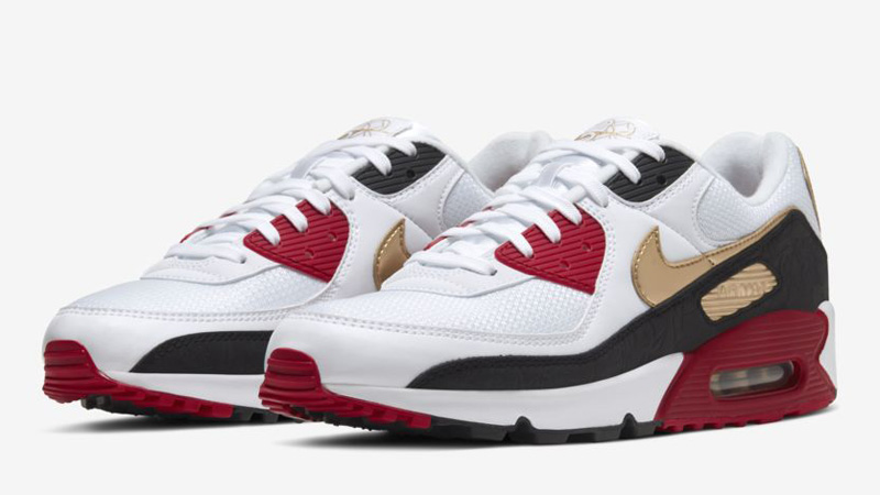 Nike Air Max 90 Chinese New Year 2020 White Metallic Gold Front