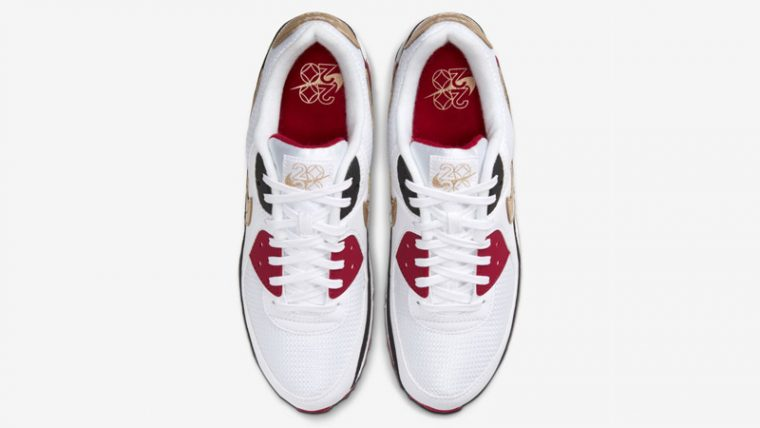 Nike Air Max 90 Chinese New Year 2020 White Metallic Gold Middle thumbnail image