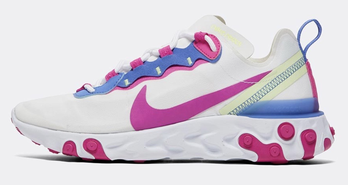 Nike React Element 55 White Fire Pink