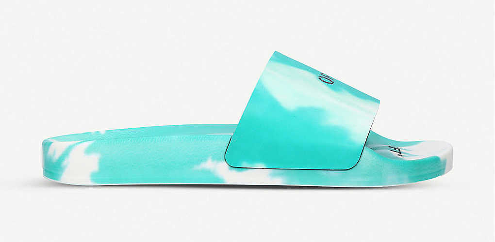 Off-White Logo Print Tie Dye Sliders Teal White