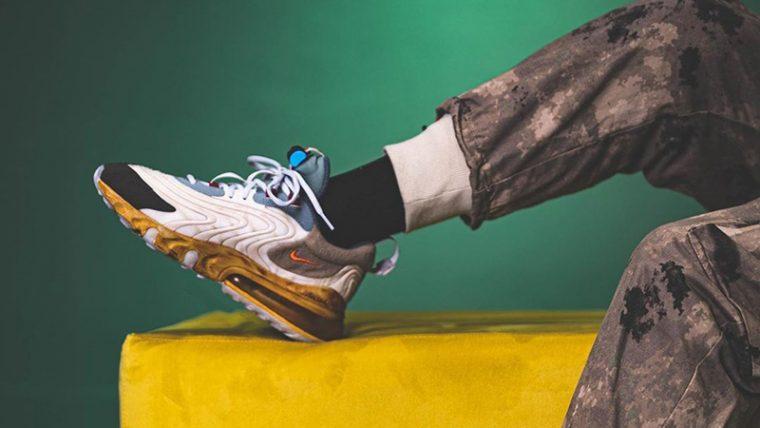 Travis Scott x Nike Air Max 270 React Cactus Jack On Foot Front thumbnail image
