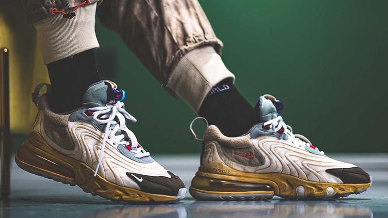 Travis Scott x Nike Air Max 270 React Cactus Jack On Foot Side Full