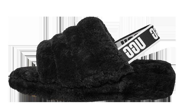 UGG Fluff Yeah Logo Slide Black