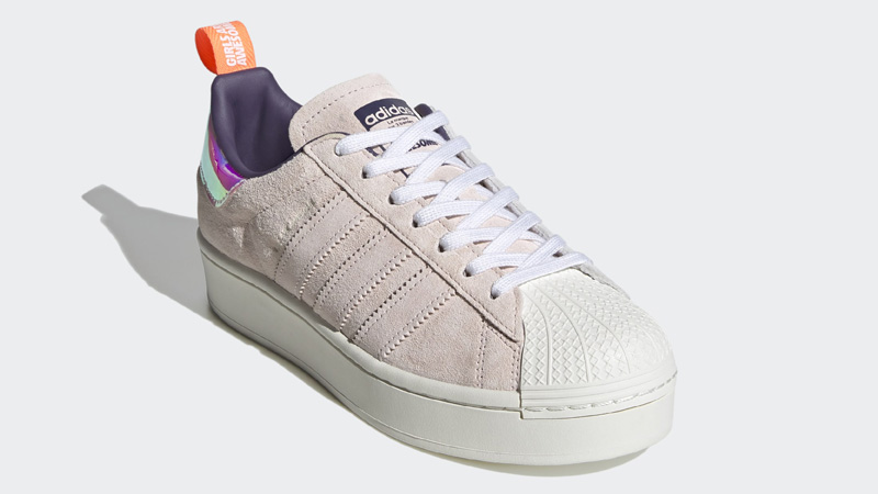 adidas Superstar Bold Girls Are Awesome Cloud White Icey Pink Front