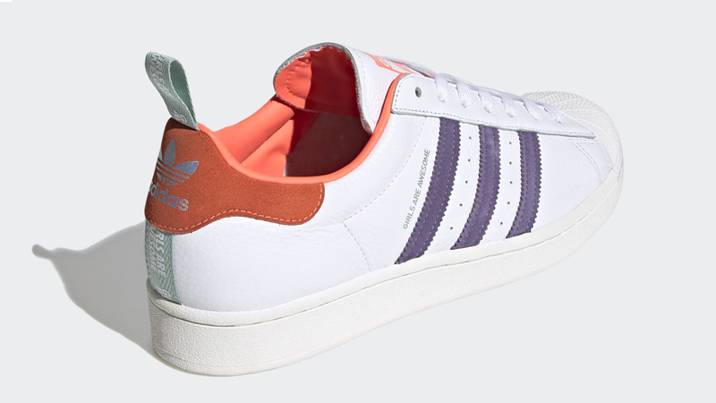 adidas Superstar Bold Girls Are Awesome Cloud White Signal Coral Back