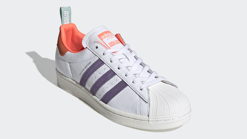 adidas Superstar Bold Girls Are Awesome Cloud White Signal Coral Front