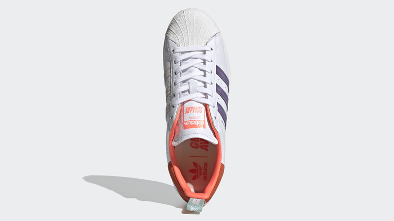 adidas Superstar Bold Girls Are Awesome Cloud White Signal Coral Middle