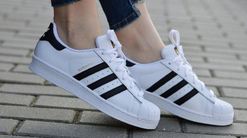adidas Superstar GS White Black On Foot