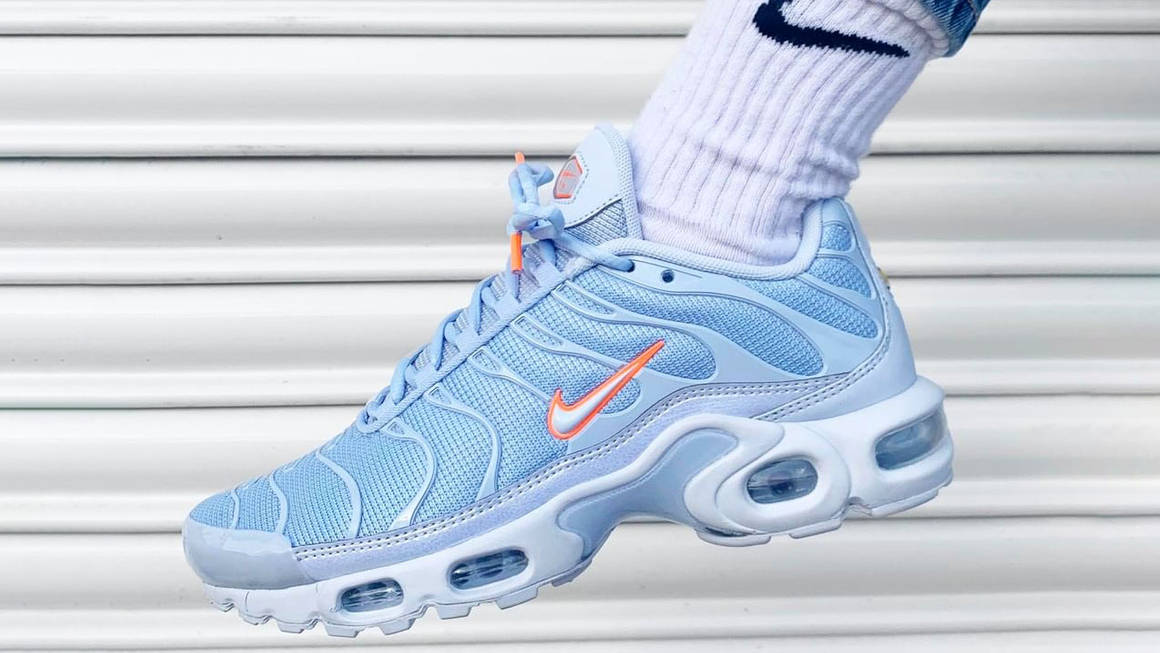nike air max plus blue orange the sole womens