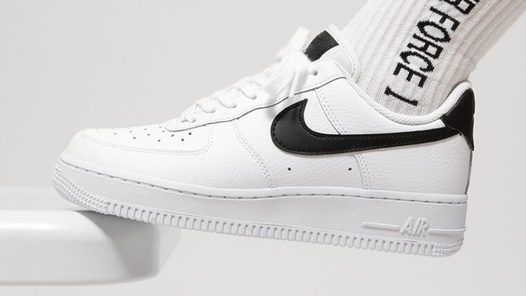 Nike Air Force 1 GS White Black On Foot thumbnail image
