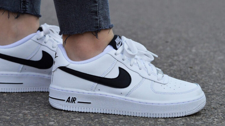 Nike Air Force 1 GS White Black On Foot Side thumbnail image