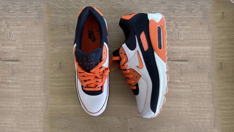 Nike Air Max 90 Home Away White Orange From Top thumbnail image