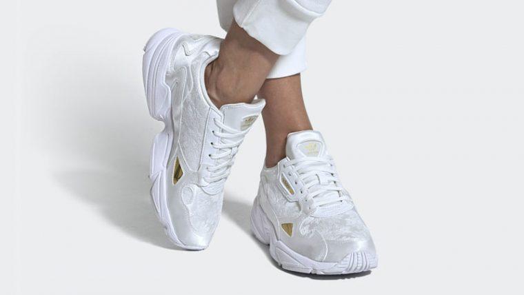 adidas Falcon Cloud White Gold On Foot thumbnail image