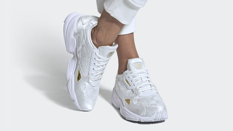adidas Falcon Cloud White Gold On Foot
