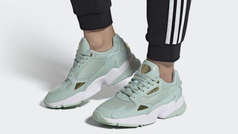 adidas Falcon Green Tint Gold Metallic On Foot thumbnail image