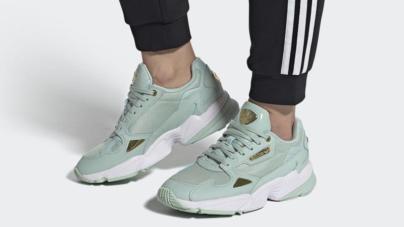 adidas Falcon Green Tint Gold Metallic On Foot