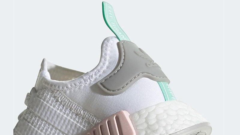 adidas NMD R1 Cloud White Clear Mint Back Closeup