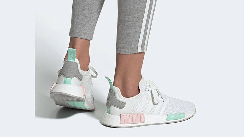 adidas NMD R1 Cloud White Clear Mint On Foot