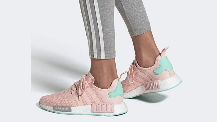 adidas NMD R1 Icey Pink Clear Mint On Foot thumbnail image