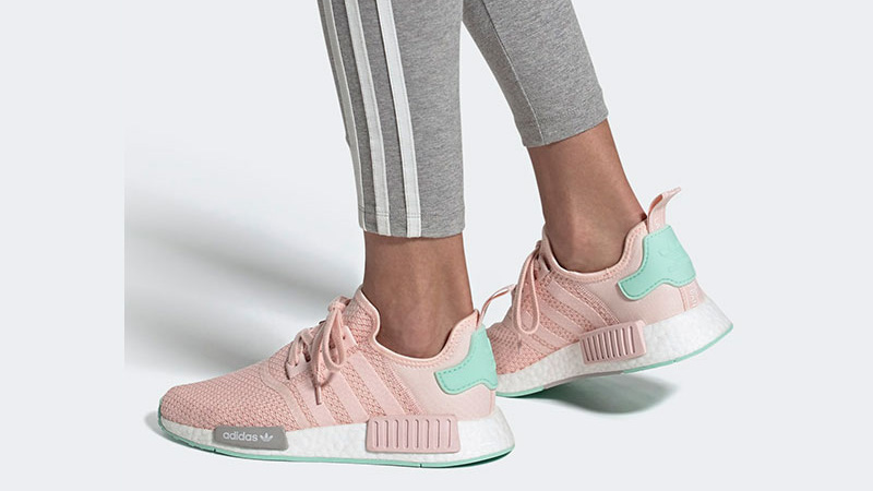 adidas NMD R1 Icey Pink Clear Mint On Foot