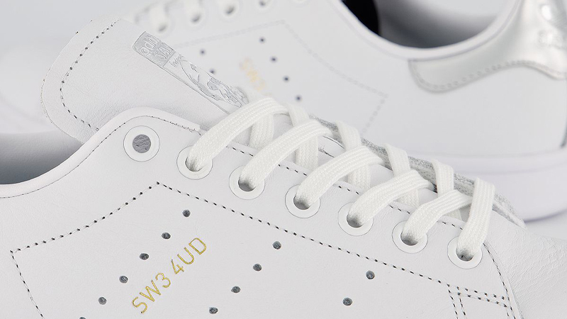adidas Stan Smith White Silver Metallic Closeup