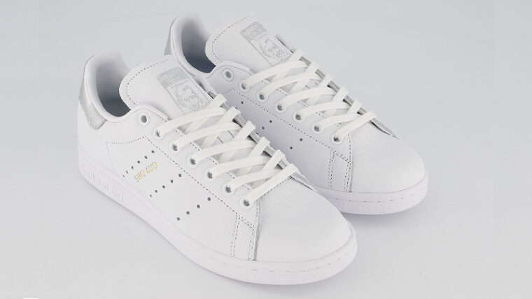 adidas Stan Smith White Silver Metallic Front thumbnail image